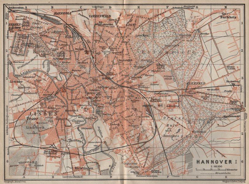 Associate Product HANNOVER antique town city stadtplan I. Hanover. Lower Saxony karte 1910 map