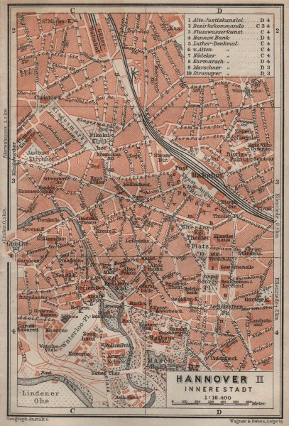 Associate Product HANNOVER INNERE STADT town city plan II. Hanover. Lower Saxony karte 1910 map
