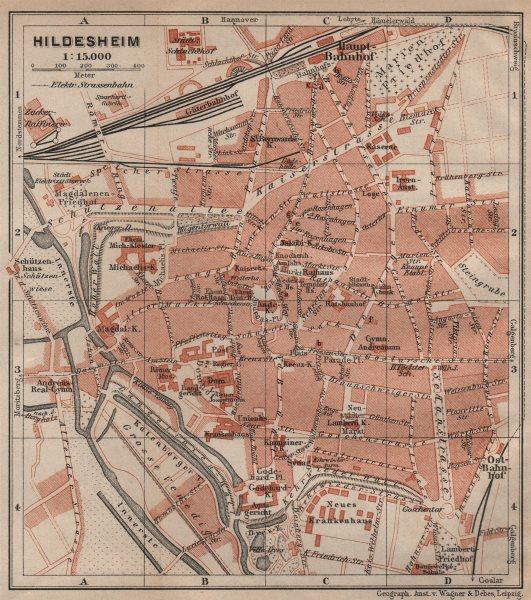 Associate Product HILDESHEIM antique town city stadtplan. Lower Saxony karte. BAEDEKER 1910 map