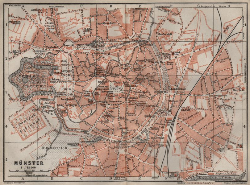Associate Product MÜNSTER antique town city stadtplan. Northrhine-Westfalia karte 1910 old map
