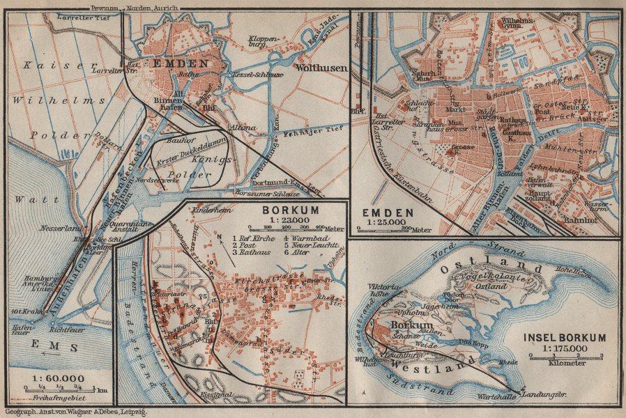 Associate Product Insel BORKUM & EMDEN antique town city plan stadtplan. Lower Saxony 1910 map