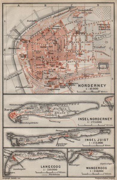 Associate Product EAST FRISIAN ISLANDS. Ostfriesische Inseln Norderney Juist Langeoog 1910 map