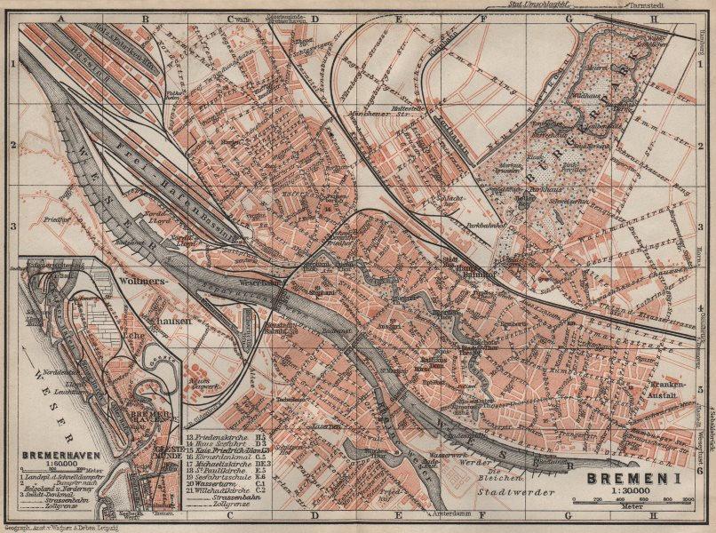 Associate Product BREMEN antique town city stadtplan I. Bremerhaven karte. BAEDEKER 1910 old map