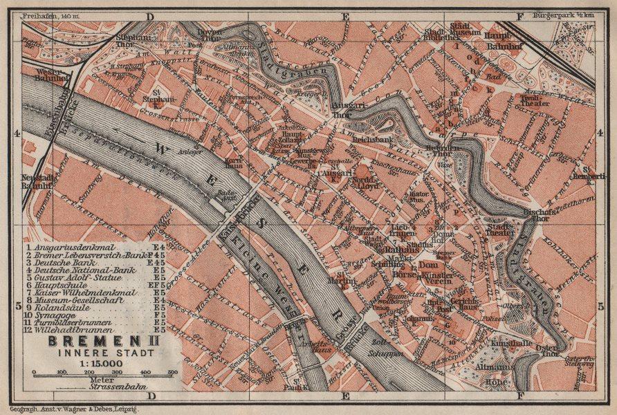 Associate Product BREMEN antique town cityplan II. Innere Stadt karte. BAEDEKER 1910 old map