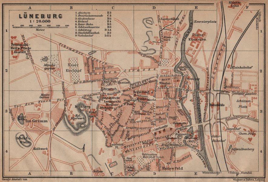 Associate Product LÜNEBURG antique town city stadtplan. Lunenburg. Lower Saxony karte 1910 map