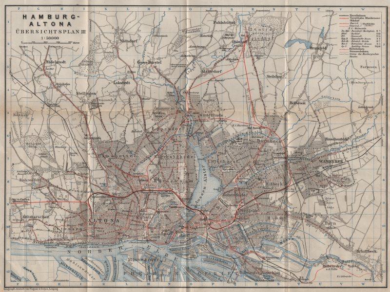 Associate Product HAMBURG-ALTONA Übersichtsplan III. Overview map. Germany. BAEDEKER 1910