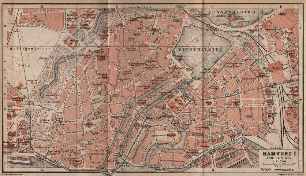 Associate Product HAMBURG antique town city plan I. Innere Stadt. Binnenalster karte 1910 map