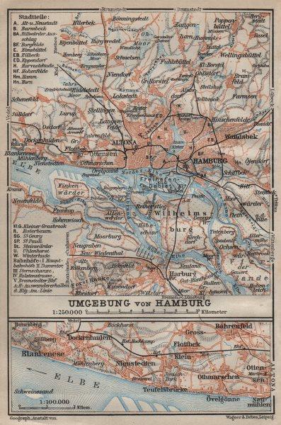 Associate Product HAMBURG environs/ umgebung. Elbe. Altona Wilhelmsburg. BAEDEKER 1910 old map