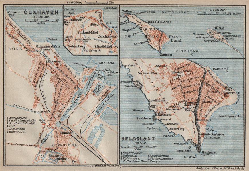 Associate Product CUXHAVEN & HELGOLAND antique town city stadtplan. Heligoland. BAEDEKER 1910 map