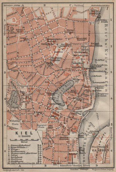 Associate Product KIEL antique town city stadtplan. Schleswig-Holstein karte. BAEDEKER 1910 map