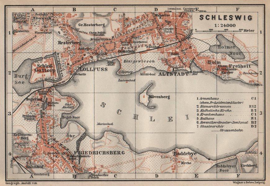 Associate Product SCHLESWIG town city stadtplan Lollfuss Friedrichsberg Slesvig Gottorp 1910 map