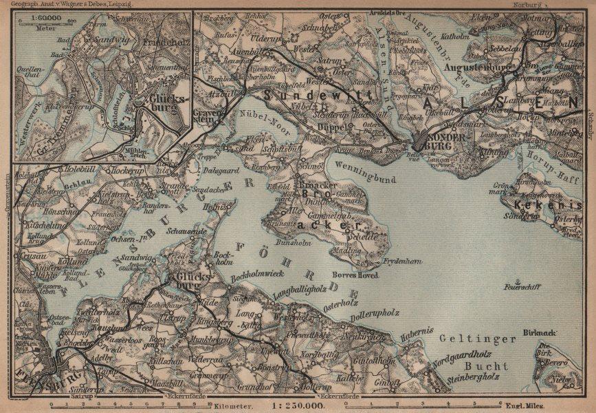 Associate Product FLENSBURGER FÖRDE FLENSBORG FJORD/Firth. Sonderborg Schleswig-Holstein 1910 map