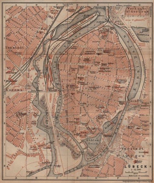 Associate Product LÜBECK antique town city stadtplan. Schleswig-Holstein karte. BAEDEKER 1910 map