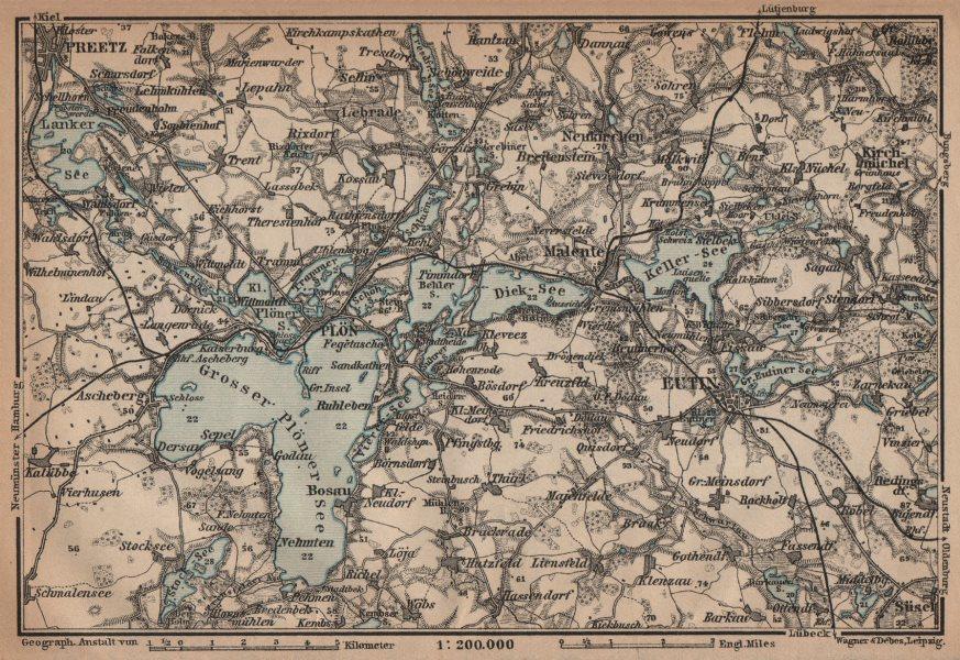 Associate Product HOLSTEIN SWITZERLAND. Holsteinische Schweiz. Germany. Preetz Eutin Plön 1910 map