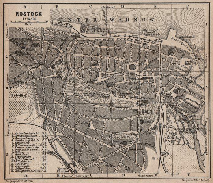 ROSTOCK antique town city stadtplan. Mecklenburg-Vorpommern karte 1910 old map