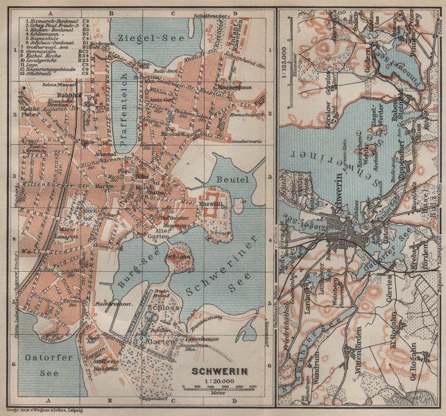 Associate Product SCHWERIN antique town city stadtplan. Mecklenburg-Vorpommern karte 1910 map