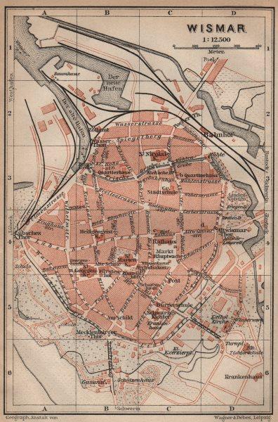 Associate Product WISMAR antique town city stadtplan. Mecklenburg-Vorpommern karte 1910 old map