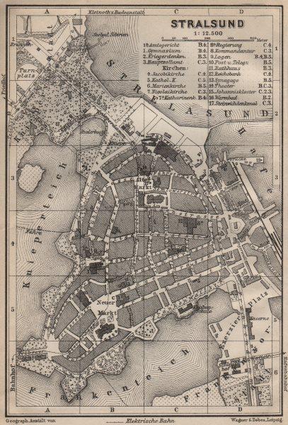 Associate Product STRALSUND antique town city stadtplan. Mecklenburg-Vorpommern karte 1910 map