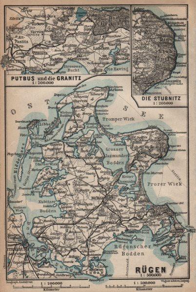 Associate Product RÜGEN. Stralsund Bergen. Rugen Putbus Granitz Stubnitz. Germany 1910 old map