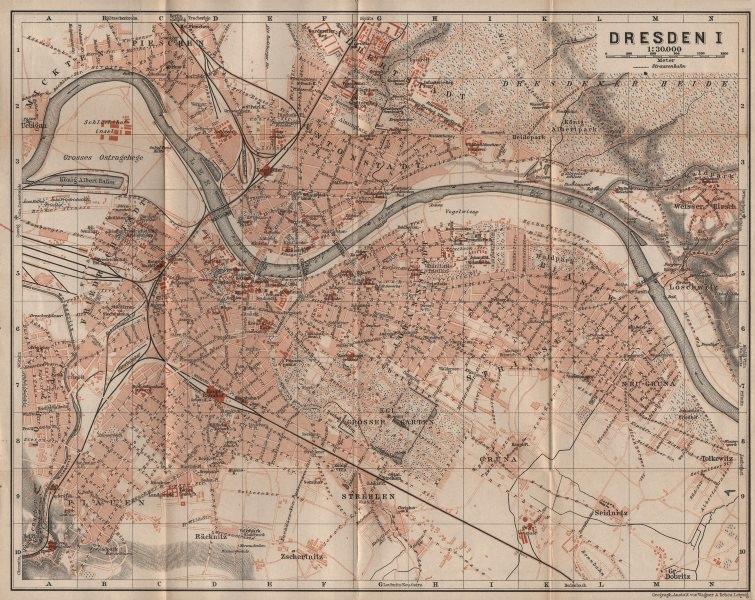 DRESDEN antique town city stadtplan I. Saxony karte. BAEDEKER 1910 old map