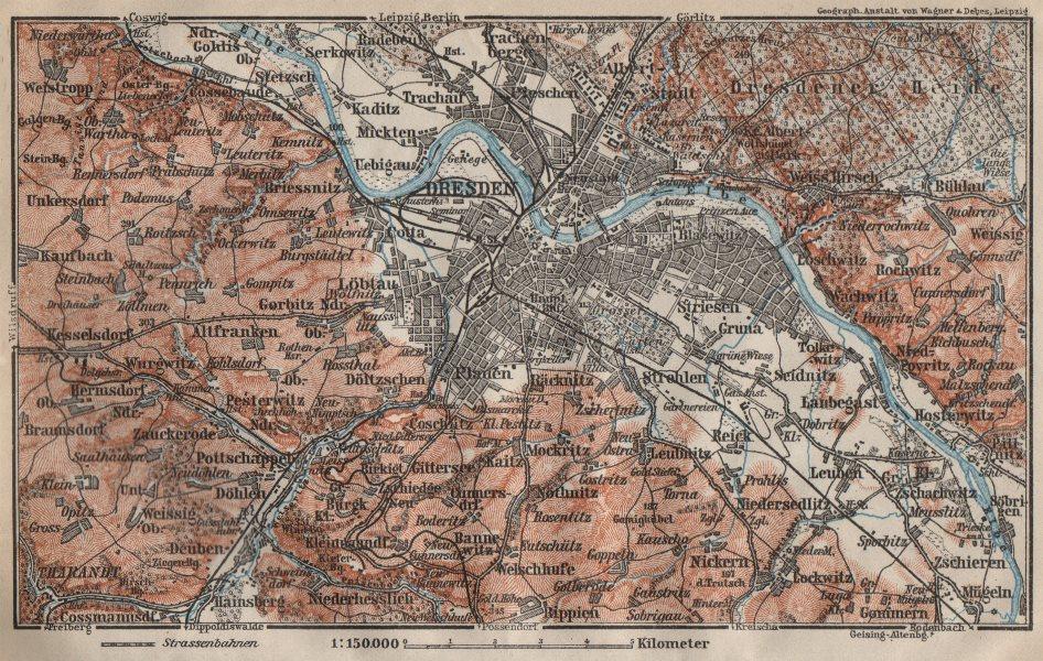 Associate Product DRESDEN & environs/umgebung. Saxony karte. BAEDEKER 1910 old antique map chart