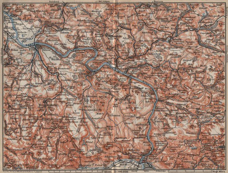 Associate Product SAXON/BOHEMIAN SWITZERLAND Böhmische/Sächsische Schweiz Ceske Svycarsko 1910 map