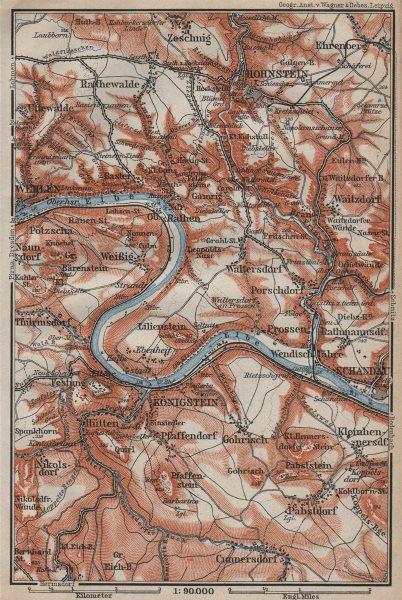 Associate Product KÖNIGSTEIN & HOHNSTEIN umgebung. Sächsische schweiz Saxon Switzerland 1910 map