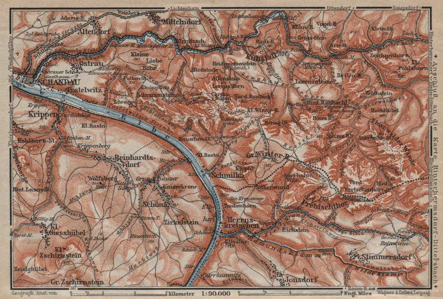 Associate Product BAD SCHANDAU environs/umgebung. Sächsische schweiz. Deutschland karte 1910 map