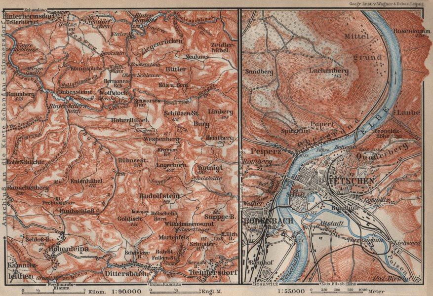 CZECH/BOHEMIAN SWITZERLAND. Tetschen/DECIN Děčín town city plan 1910 old map