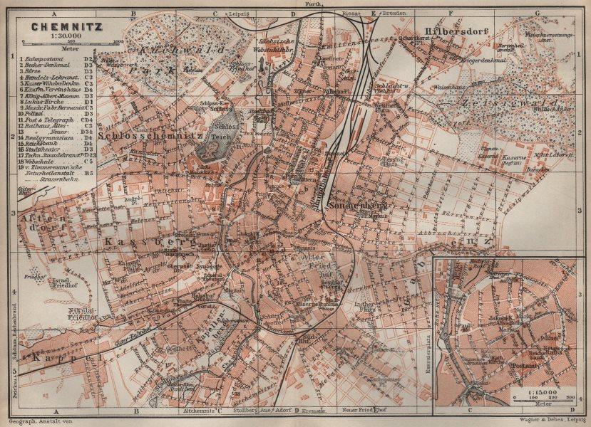Associate Product CHEMNITZ antique town city stadtplan. Saxony karte. BAEDEKER 1910 old map