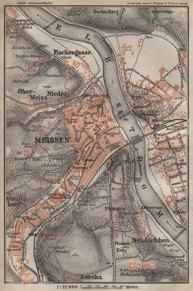Associate Product MEISSEN Meißen town city stadtplan & environs/umgebung. Cölln. Saxony 1910 map