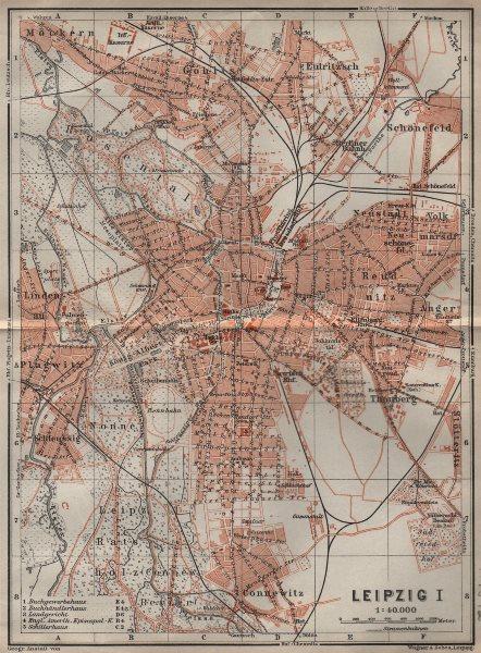 Associate Product LEIPZIG antique town city stadtplan I. Saxony karte. BAEDEKER 1910 old map