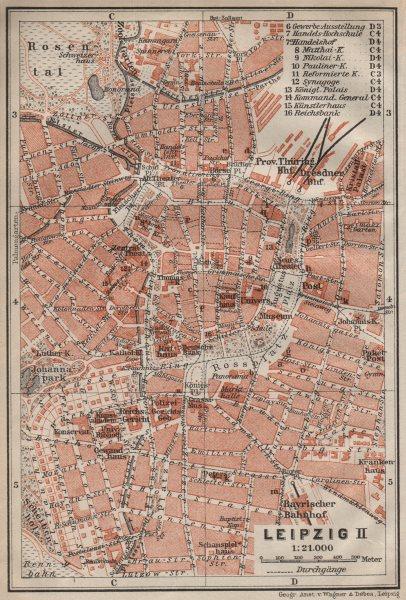LEIPZIG antique town city stadtplan II. Saxony karte. BAEDEKER 1910 old map