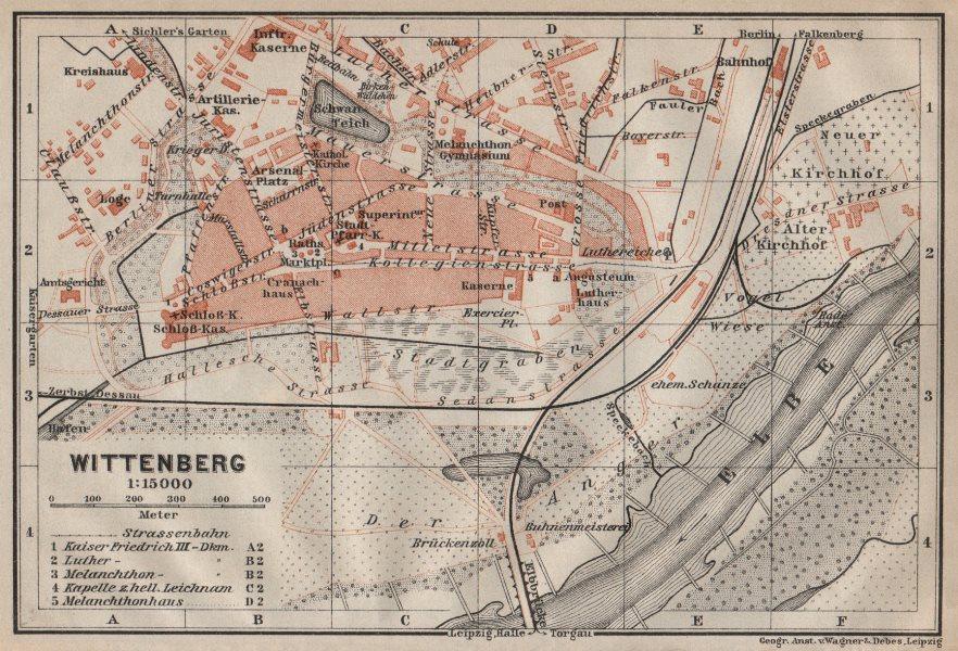 Associate Product WITTENBERG antique town city stadtplan. Saxony-Anhalt karte. BAEDEKER 1910 map