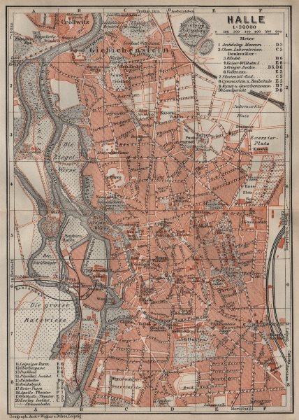 Associate Product HALLE antique town city stadtplan. Saxony-Anhalt karte. BAEDEKER 1910 old map
