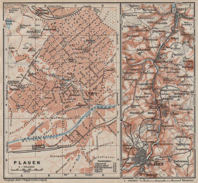 Associate Product PLAUEN antique town city stadtplan. ELSTER VALLEY to Greiz. Saxony 1910 map