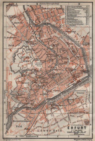 Associate Product ERFURT antique town city stadtplan. Thuringia karte. BAEDEKER 1910 old map