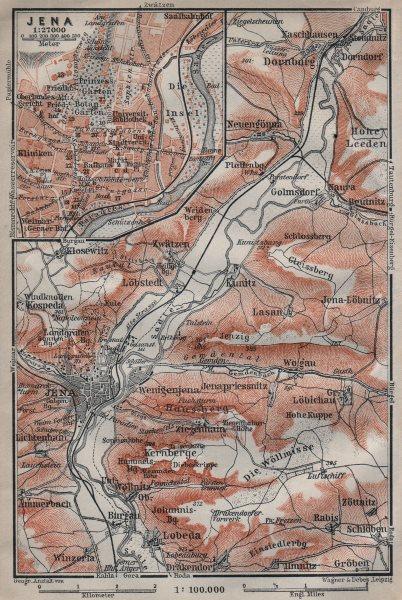 Associate Product JENA & environs/umgebung. Dornburg. Thuringia karte. BAEDEKER 1910 old map