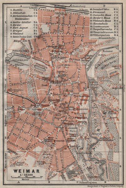 Associate Product WEIMAR antique town city stadtplan. Thuringia karte. BAEDEKER 1910 old map