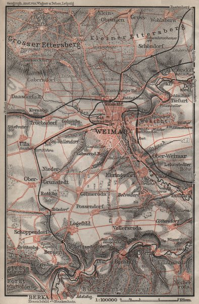 Associate Product WEIMAR environs/umgebung. Thuringia. BAEDEKER 1910 old antique map plan chart