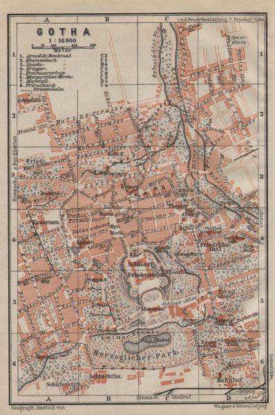 Associate Product GOTHA town city stadtplan. Thuringia. Schloss Friedenstein karte 1910 old map