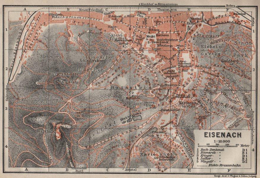 Associate Product EISENACH antique town city stadtplan. Thuringia. Wartburg karte 1910 old map