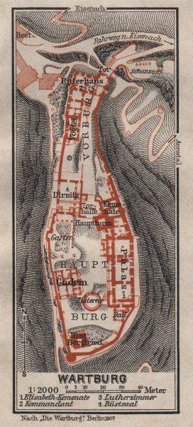 Associate Product WARTBURG CASTLE ground plan. Eisenach, Thuringia. BAEDEKER 1910 old map