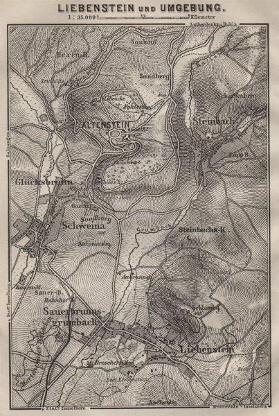 Associate Product LIEBENSTEIN & environs/umgebung. Altenstein. Thurinigia karte. SMALL 1910 map
