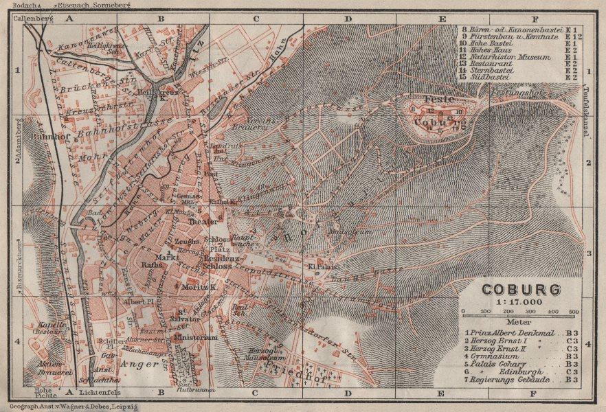 COBURG antique town city stadtplan & environs/umgebung. Bavaria karte 1910 map