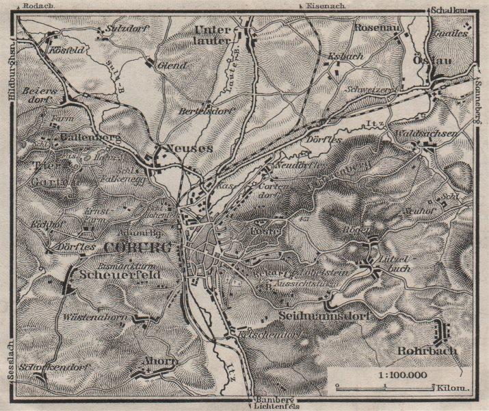 Associate Product COBURG environs/umgebung. Bayern Bavaria. BAEDEKER 1910 old antique map chart