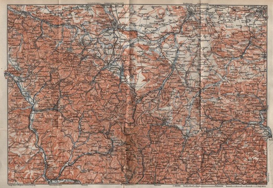 THÜRINGER WALD. Thuringian Forest. Gotha Eisenach Erfurt Weimar karte 1910 map