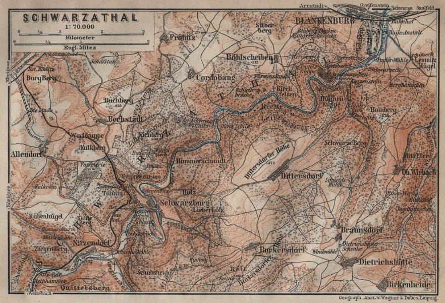 Associate Product BLANKENBURG & environs/umgebung. Schwarzatal. Thuringia karte 1910 old map