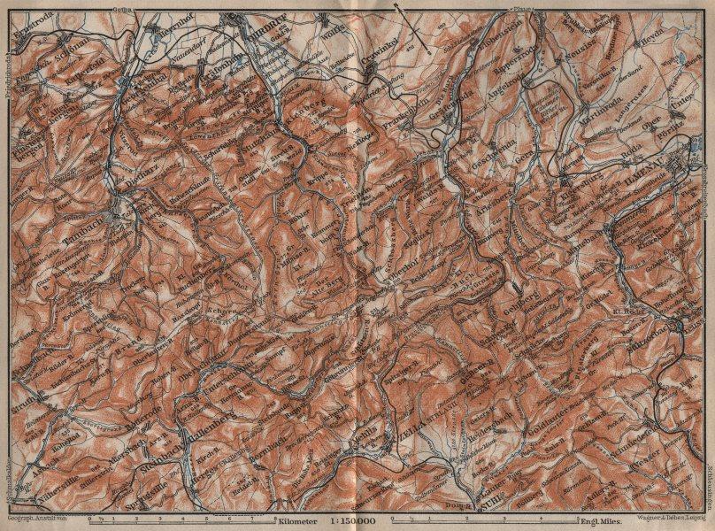 Associate Product THURINGIAN FOREST, EAST. Thüringer Wald. Tambach Ilmenau. BAEDEKER 1910 map