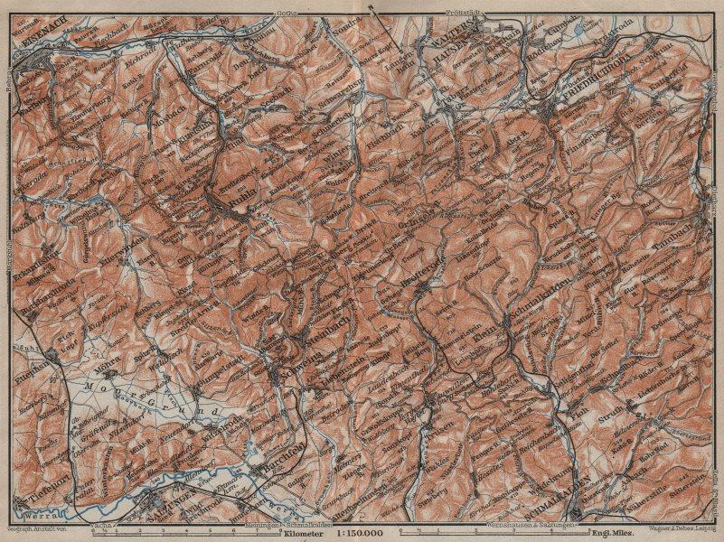 Associate Product THURINGIAN FOREST WEST. Thüringer Wald Eisenach Friedrichroda. BAEDEKER 1910 map